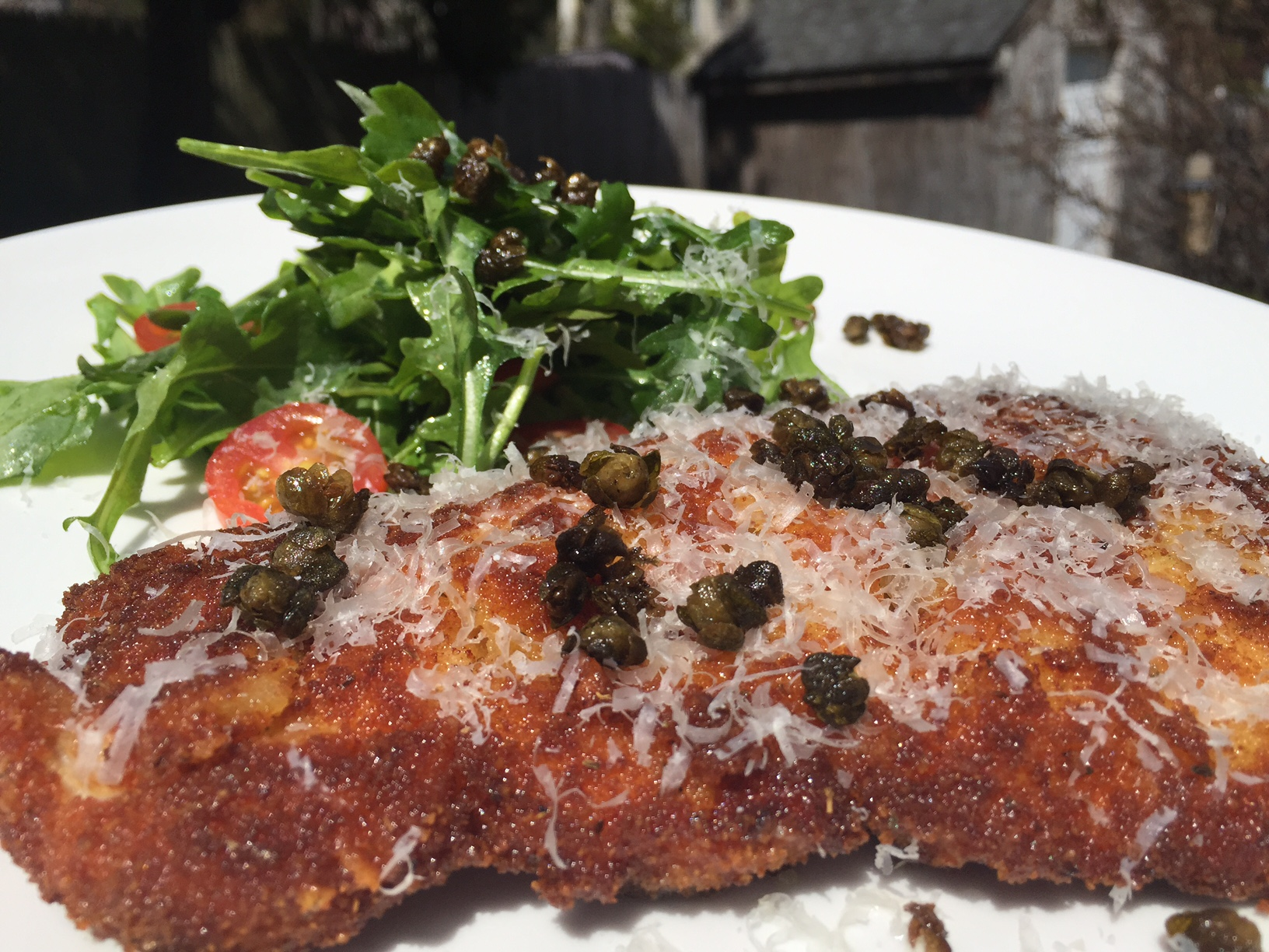 Parmesan Chicken Paillard with Fried Capers